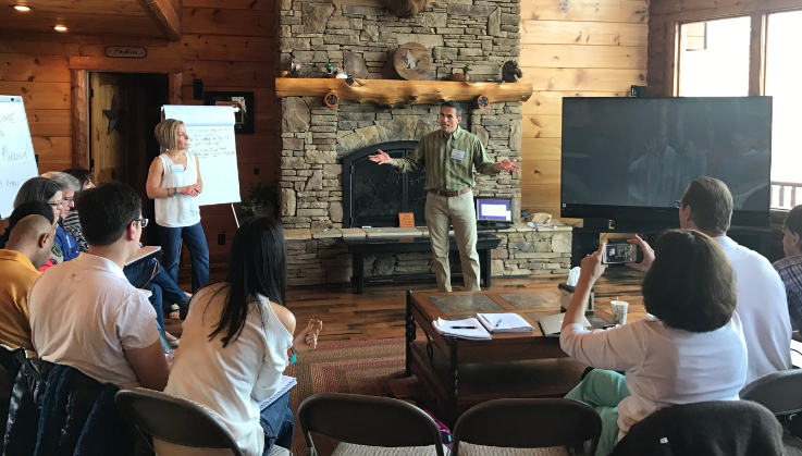 Craig and Jenny training entrepreneurs from 12 different countries at the Ultimate Business Retreat. This is a critical component to every development meeting for leaders in business!